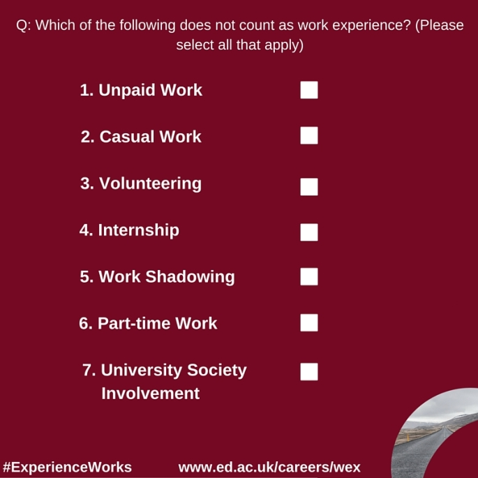 Q- Which of the following does not count as work experience-(Please select all that apply)